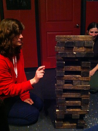 Galileo's: jenga downstairs along with billiards and ping pong