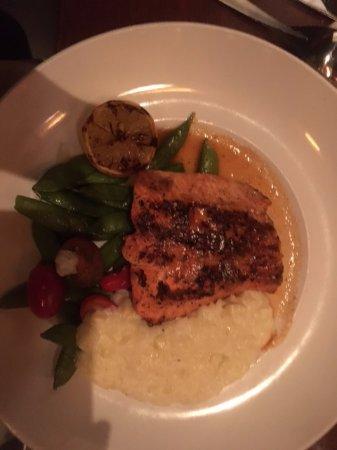 """Wild Alaska Copper River Salmon. The corn """"risotto"""" was surprising and delicious but salmon was"""