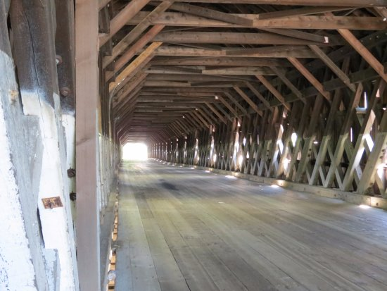 Cornish-Windsor Covered Bridge: Town Lattice Truss construction of Bela Fletcher from 1866