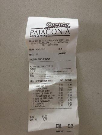 Patagonia Beef & Wine: La cuenta de una muy buena cena