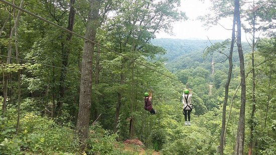 Elizabethton, TN: This is how you celebrate 65!  Took my mom on her first zip line adventure!  The staff went out