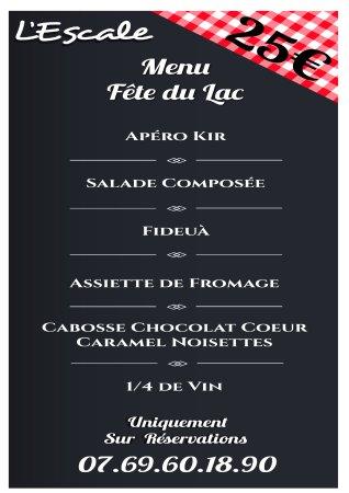 Puivert, France: Menu spécial Fête du Lac 19 Juillet 2017