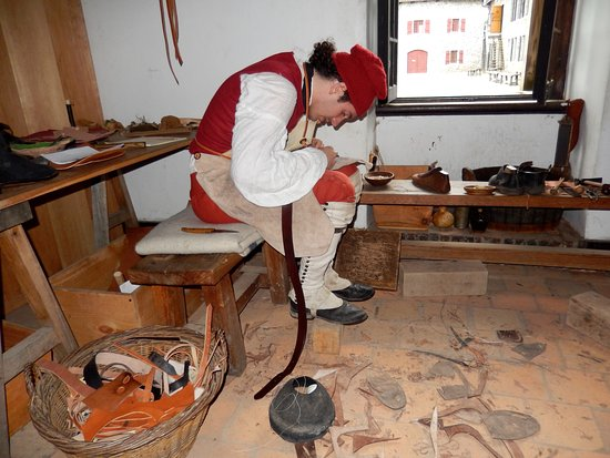 Ticonderoga, NY: Leather worker in French military uniform.