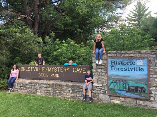 Preston, MN: Forestville State Park entrance.