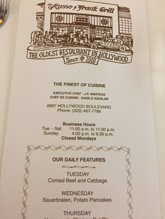 Musso & Frank Grill: Menu cover