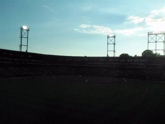 Winston Salem, Kuzey Carolina: Winston-Salem Center Field with Sun setting