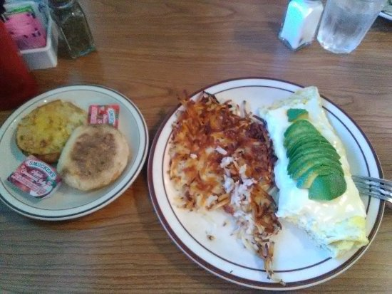 Yucca Valley, CA: Swiss Omelette Hash Browns and English Muffin (oops took a bite)
