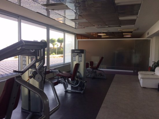Out of the Blue Capsis Elite Resort: Fitness center weight machines; great view