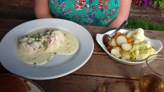 Sway, UK: chicken breast meal with vegetables