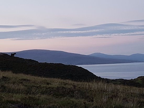 County Mayo, Irlanda: Evening view after sunset from the hill just above Macalla Farm