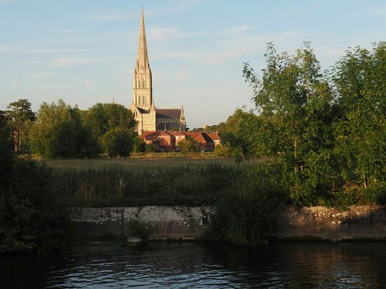 Harnham, UK: View of the Cathedral across the river from the beer garden.