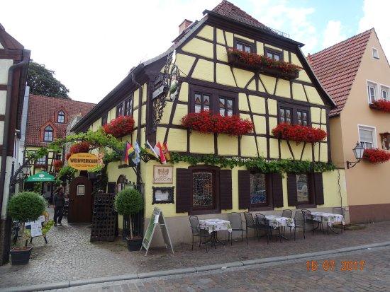 Veitshochheim, Duitsland: Das schöne alte Fachwerkhaus