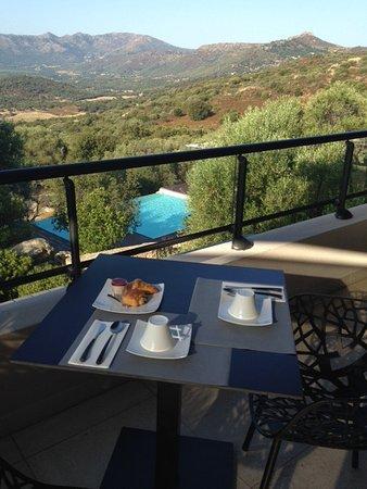 Monticello, فرنسا: Petit déjeuner avec vue sur piscine et maquis