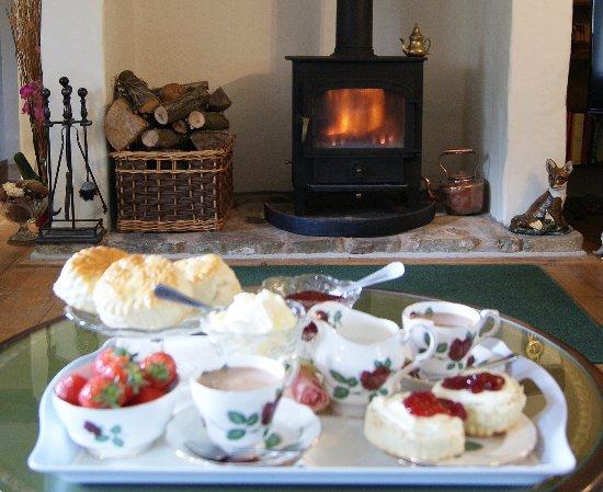 Atherington, UK: Devon cream tea in front of roaring wood stove - enjoy award wining home cooking