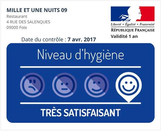 Foix, Francia: Niveau d'hygiène certifié par la DDCSPP de l'Ariège