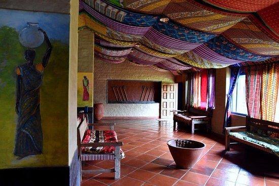 Goudaguda, India: The main hall of Chandoori Sai. Behind the rear pillar is the kitchen.