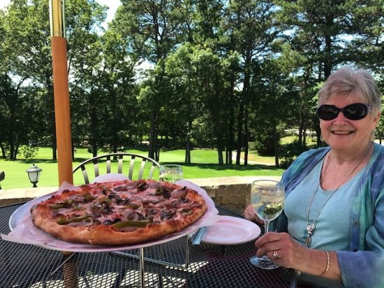 Yarmouth Port, MA: pizza and wine spritzers on the patio on Montebello