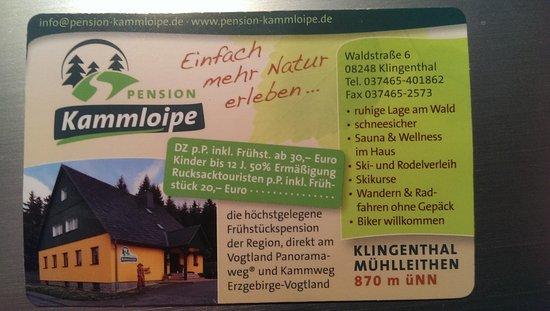 Klingenthal, Germany: Kontakt Pension Kammloipe