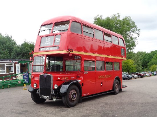 Chipping Ongar, UK: A vintage bus service connects North Weald with Epping station