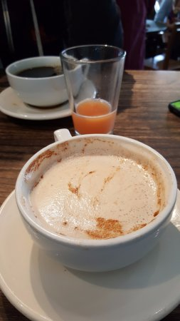 Macrina Bakery : Coffee, almost gone grapefruit juice and a delicious chai