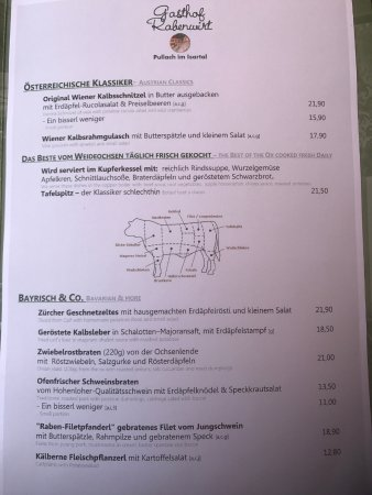 Pullach im Isartal, Allemagne : Die Speisekarte
