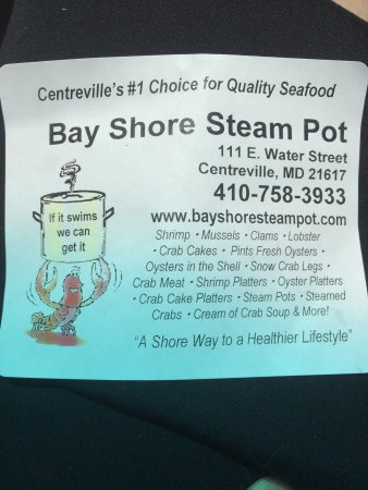 Bay Shore Steam Pot: Every sandwich container has this sticker!