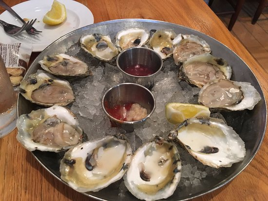 Hank's Oyster Bar: Salty Wolfe Oysters - 4 gone - 8 to go, superb