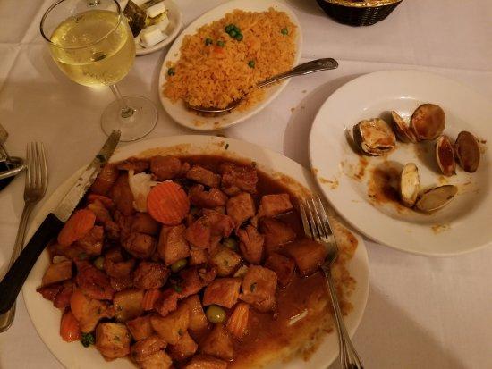 Wharton, นิวเจอร์ซีย์: Plate full of pork cubes in brown sause
