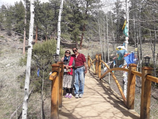 Red Feather Lakes, CO: Bridge with Prayer flags @ Shambhala