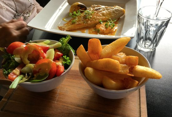 Newent, UK: chips and salad with the plaice
