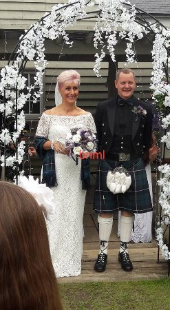 Royston, UK: Our Ceremony in the garden at The Belle