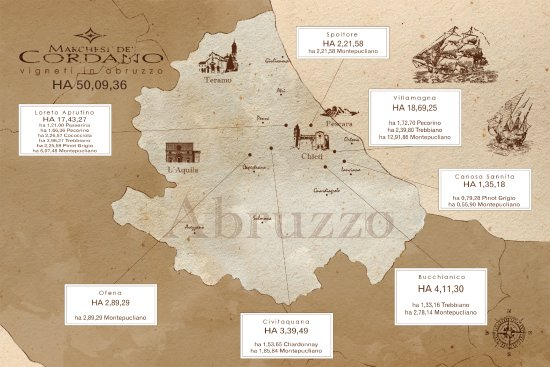 Loreto Aprutino, Italië: La mappa dei nostri vigneti