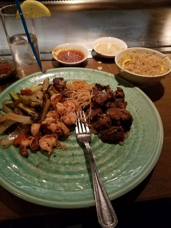 Pelham, NY: steak, shrimp, veggies, noodles and fried rice, that ginger sauce is good!