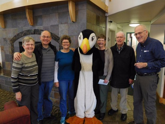 Puffin Inn of Anchorage : Our family with the Puffin Inn mascot