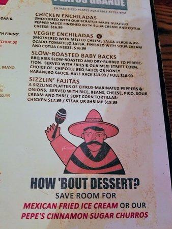 Guapo's Tortilla Shack: Couldn't do dessert, darn.