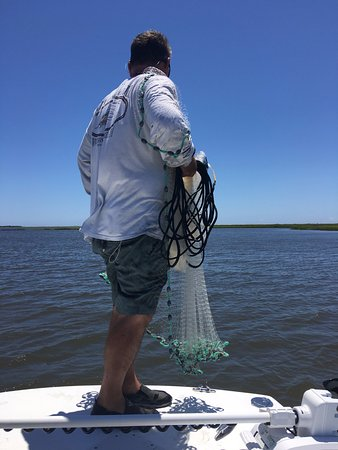 Southport, Carolina del Nord: Tommy catching bait