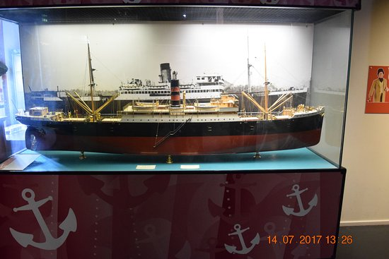Hartlepool, UK: Model of the SS Digby with photo behind