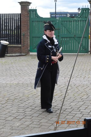 Hartlepool, UK: Guide in pseudo officer dress