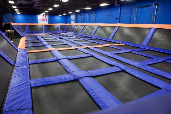 Syracuse, NY: This is just part of a huge indoor trampoline park with dodgeball, a foam pit, and way more!