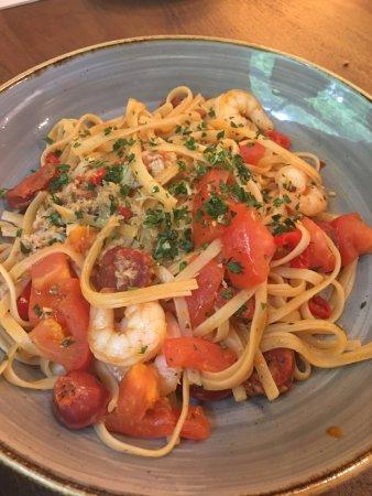 Cookham, UK: main: King prawn, crab and chorizo linguine