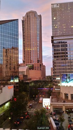 Aloft Charlotte Uptown at the EpiCentre: view from 5th floor lobby overlooking downtown