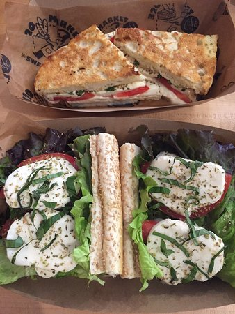320 Market Cafe: Caprese panini on the top, Calabrese sandwich on the bottom. Delicious French fries!
