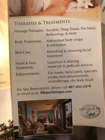 Lighthouse Key Resort and Spa: I grabbed this flyer from their resort in July 2017- they advertise a spa on the website too! Th