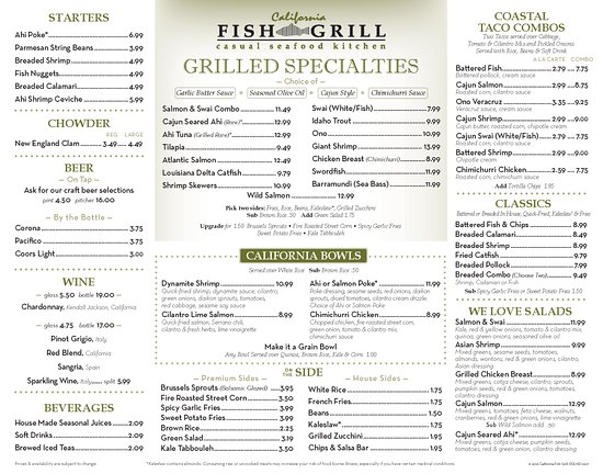 Redlands, Kalifornien: California Fish Grill Menu