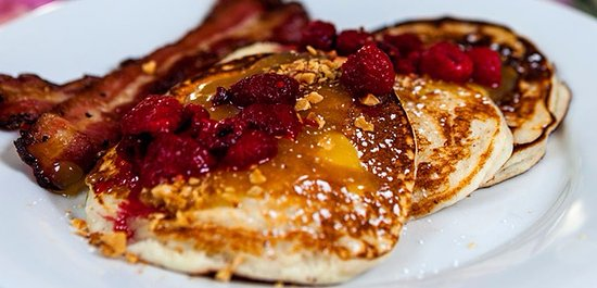 Silverton, OR: Lemon ricotta pancakes with lemon curd & raspberries