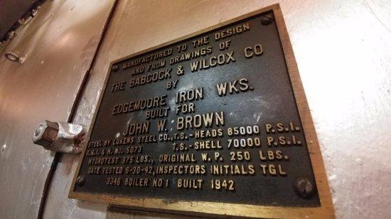 S.S. John W. Brown: Data plate