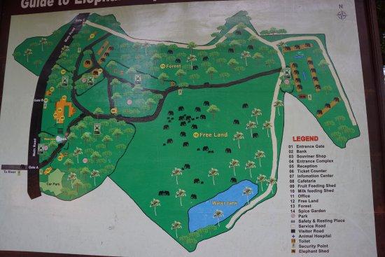 Pinnawala, Sri Lanka : Карта питомника