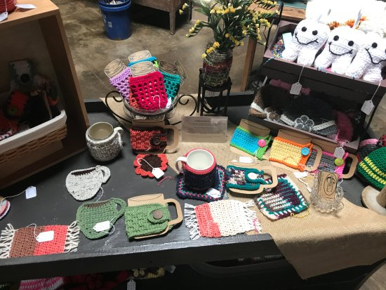 Elberton, GA: Crocheted cup cozies and tooth fairy pillows!