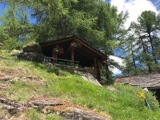 Evolene, Swiss: Une des terrasses de la buvette