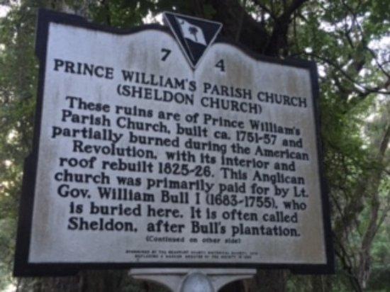 Old Sheldon Church Ruins: Old Sheldon Sign